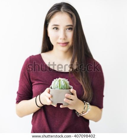 Woman Plant Green Hobby Gardening Concept - stock photo