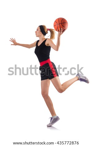 Woman playing basketball isolated on white - stock photo