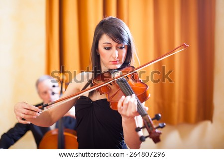 Woman playing her violin - stock photo