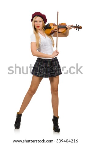 Woman playing violin isolated on white