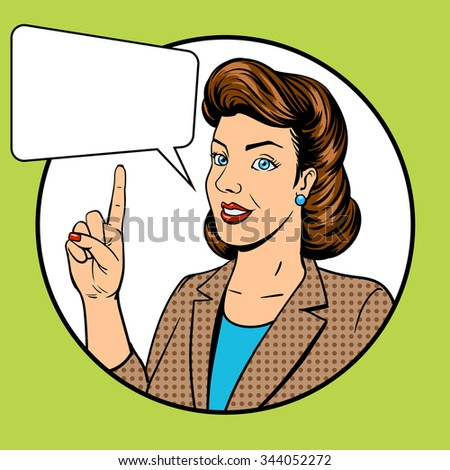 Woman point finger gesture pop art raster illustration. Retro style. Comic book style imitation