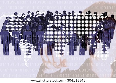 Woman pointing at world map with people - stock photo