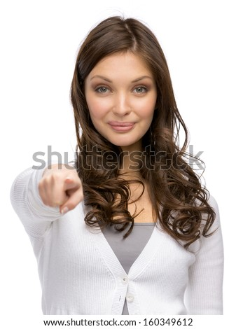 Woman pointing hand gestures, isolated on white - stock photo