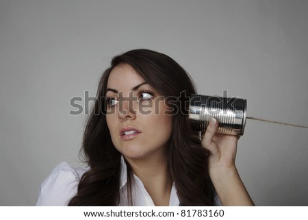 woman pointing her finger at you - stock photo
