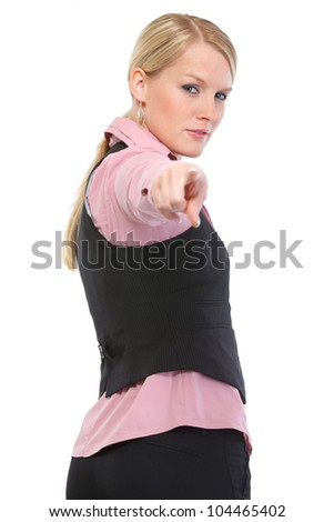Woman pointing on you - stock photo