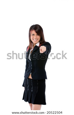 woman pointing the finger - stock photo