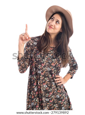 Woman pointing up  - stock photo