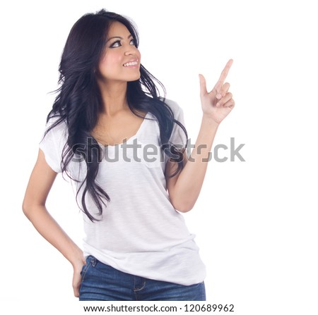 Woman pointing up isolated on white background - stock photo