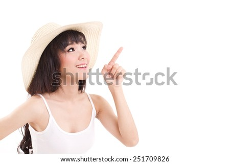 woman pointing up, looking up, white isolated background - stock photo