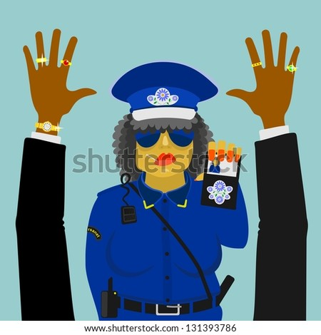 Woman police officer on the job - stock photo