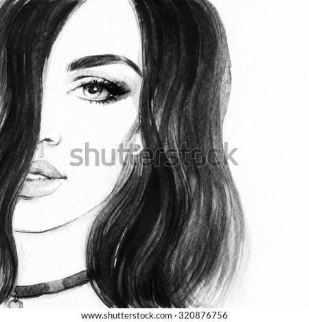 woman portrait. abstract watercolor .fashion background - stock photo