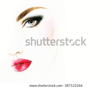 woman portrait .abstract watercolor .fashion background - stock photo