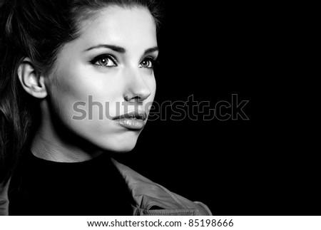 Woman portrait, black-and-white - stock photo