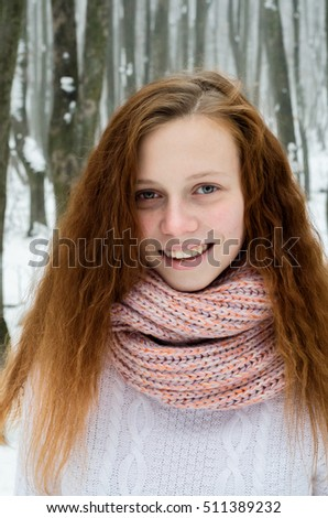 woman portrait in a winter nature. smile
