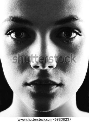 Woman portrait in black and white - stock photo