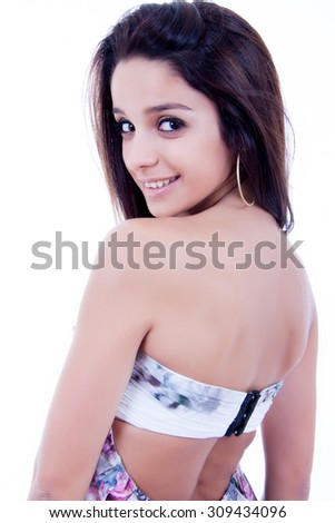 Woman portrait, isolated on white background