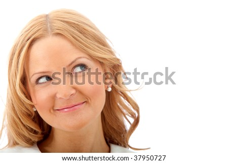 Woman portrait looking at the corner of the image isolated - stock photo