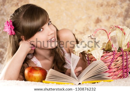woman portrait of nice  teen girl on beautiful background - stock photo