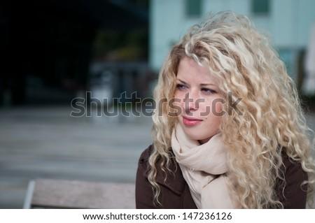 Woman portrait - outside - stock photo