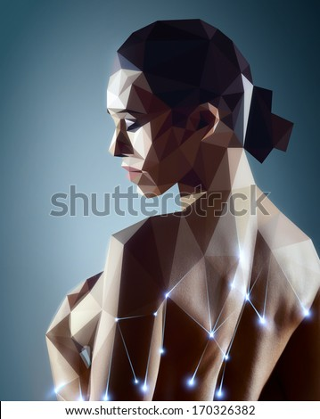 Woman portrait. Real woman digitizing to robot style painting. - stock photo