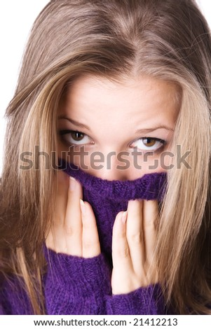 Woman portrait with big woollen collar. Isolated on white. - stock photo