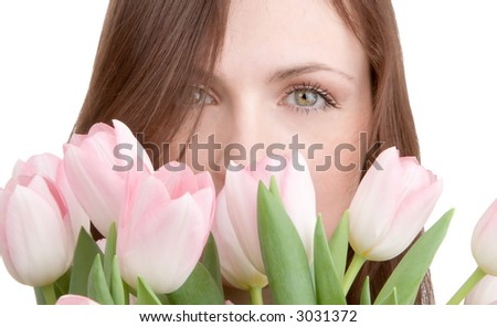 Woman portrait with bouquet of tulips isolated on white background