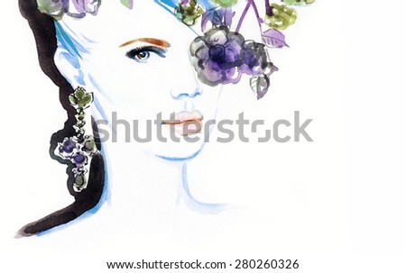 woman portrait with flowers .abstract watercolor .fashion background - stock photo