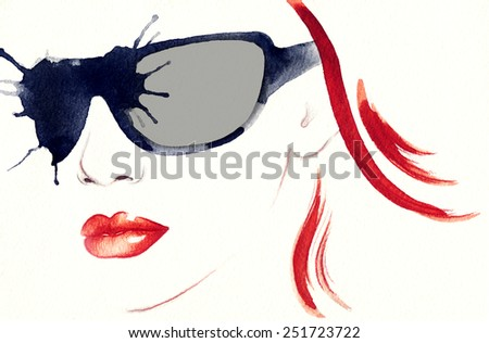 woman portrait with glasses .abstract watercolor .fashion background - stock photo