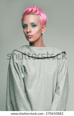 Woman portrait with pink hair - stock photo