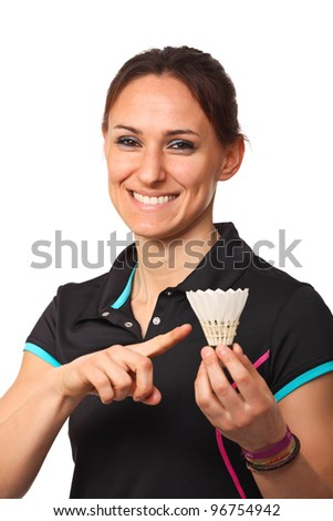 woman portrait with shuttlecock on white background - stock photo