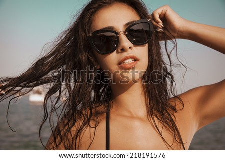 woman portrait with sunglasses. - stock photo