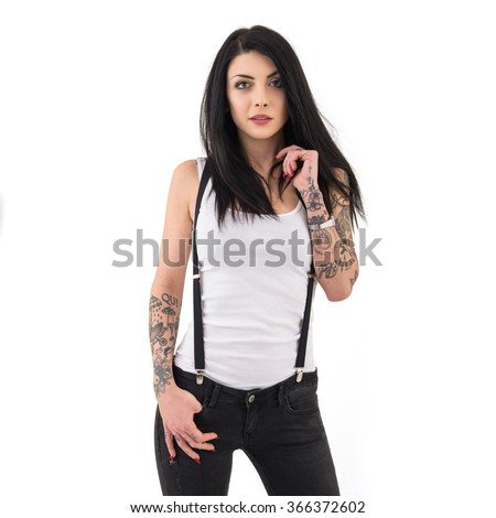 Woman portrait with tattoo against white background.