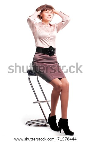 woman posing in studio on white background
