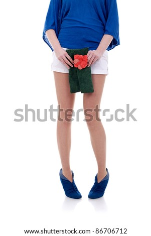 Woman posing with fashion accessories over white background - stock photo