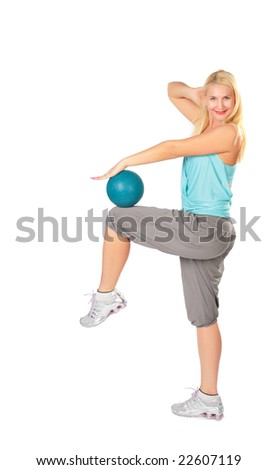 Woman practises with a blue ball - stock photo