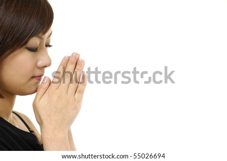 Woman Praying on white - stock photo