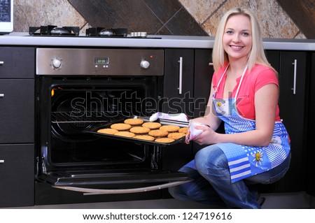 woman preparing cookies - stock photo