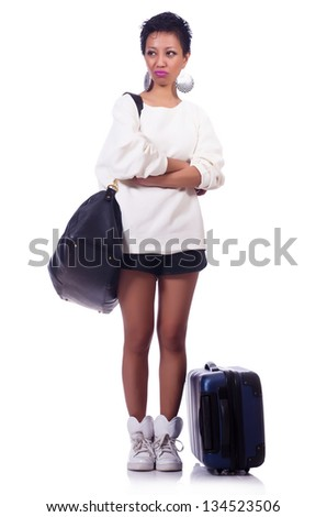 Woman preparing for summer vacation - stock photo