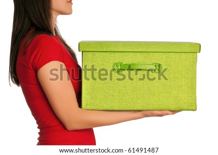 Woman presenting big green box with gifts - stock photo