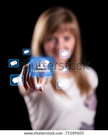 Woman pressing socian network icon, background in bokeh - stock photo
