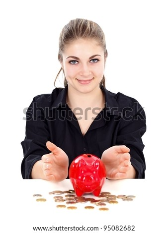 Woman protecting the piggy bank, symbol of savings - stock photo
