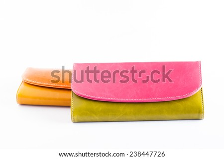 Woman Purse (wallet) isolated on the white background. - stock photo