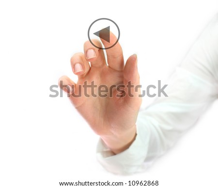 woman pushing play button - stock photo
