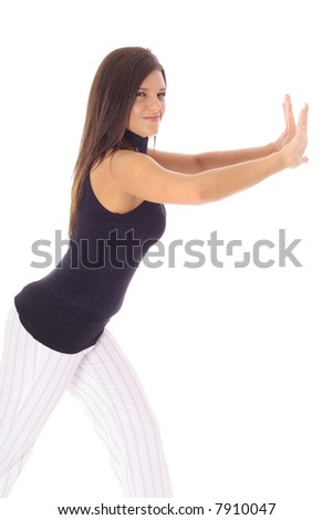 woman pushing your object - stock photo