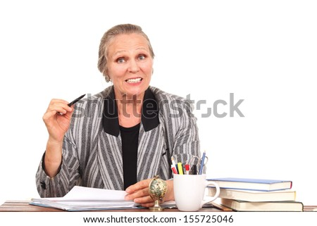 Woman reading a note and commenting on it - stock photo