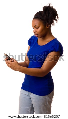woman reading a text message. - stock photo