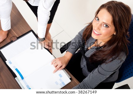 Woman, reading in a note-book - stock photo
