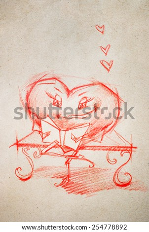 Woman Reading the Book on a Bench. Set. Character Heart in Various Life Situations. Graphic illustration in Pencil Drawing - stock photo