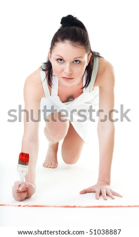 Woman ready to start repaint competition - stock photo