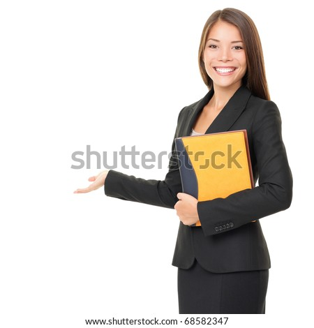 Woman real estate agent / realtor showing open hand showing blank space for advertisement. Isolated on white background. - stock photo